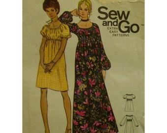 Peasant Dress Pattern, Elastic Neck, Raglan Sleeves, Empire Waist, Pullover, Long/Short, Butterick No. 6124 Size L (14-16)