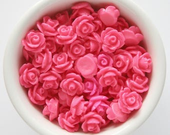 6 Piece Hot Pink 10mm Cabochon Rosette Flowers DIY Earrings Bobby Pins