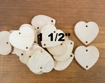 "50 Birthday Celebration Board Wood Hearts Unfinished 1 1/2"" x 1 1/2 x 1/8"" (38.1mm x 38.1mm x 3.175mm) 2 Hole"