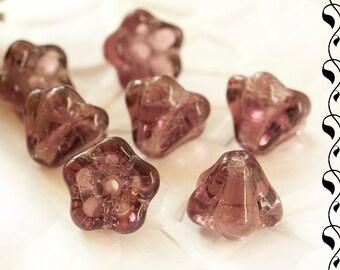 10 Czech Glass Flowers 6x8 mm Amethyst