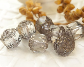 Cathedral Fire-Polished Beads 8 mm Smoke Gray/ Cold Gray 10 pcs