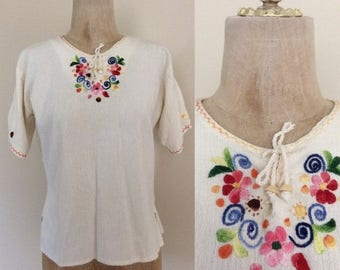 30% OFF 1970's White Embroidered Indian Cotton Shirt Lace Up Shirt Vintage Top Size Medium Large by Maeberry Vintage