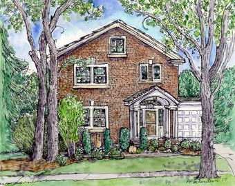 HOUSE PORTAIT,Custom Home in Original Watercolor,handpainted,Mothers Day, Easter, Anniversary,Birthday Personalized Gift,Patty Fleckenstein