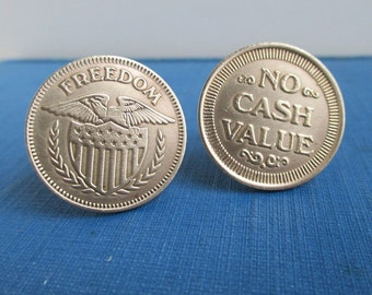 Freedom / No Cash Value Coin Cuff Links - Eagle & Shield, Vintage Repurposed Gold Tokens