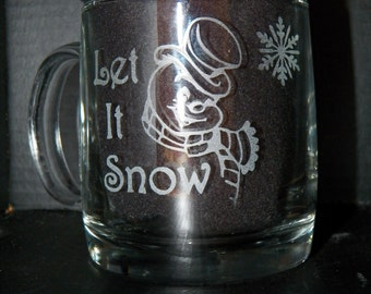 Let It Snow 130z set of four [4] Coffee Mugs
