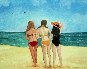 ORIGINAL beach art watercolor painting, Best Friends Forever, beach cottage decor, girls on vacation that comes matted in 16x20