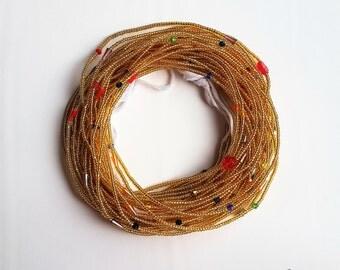 Gold & Confetti African waistbeads, Ghana waist beads, gold belly beads, gold body chain, or jigidas