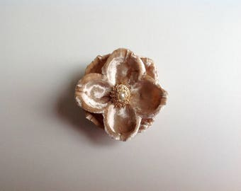 Vintage Brooch and Champagne Silk Velvet Bloom Lapel Pin