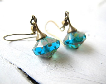 Bohemian Earrings, Deep Aqua Blue Drop, Long Teal Dangle, Czech Glass Jewelry, Bohemian Bijoux, Teal Boho Chic Earring, Hippie Bijoux
