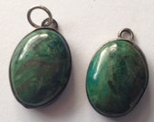 Vintage Malachite and Sterling Earrings