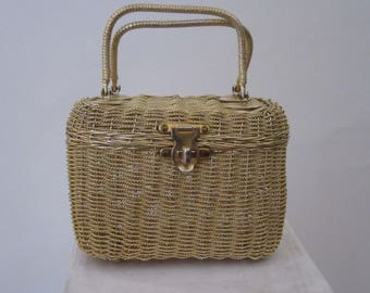 Vintage 1960s Golden Woven Metal Box Purse