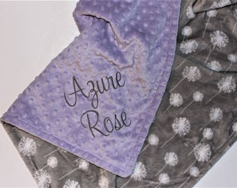 DANDELION Baby Girl Blanket, PERSONALIZED Baby Blanket, Lavender and Gray, Double Minky, Custom Blanket with Name - Choose Your Colors