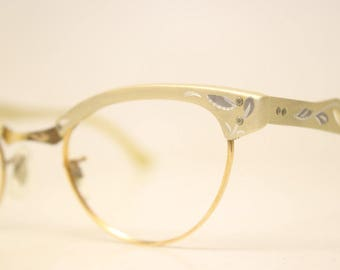 Unused Gold Aluminum cat eye eyeglasses 1/10 12k Gold Filled vintage cat eye glasses frames Cateye frames NOS