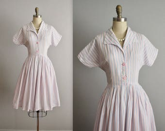50's Day Dress // Vintage 1950's Pink Blue Striped Cotton Full Garden Party Shirtwaist Dress M