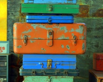 Vintage Orange / Green Steel Toolbox: Gorgeous Rustic Two-tone Industrial Hardware Box / Tacklebox Organizer Chest / Sewing or Tool Trunk
