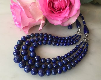 Blue Lapis Lazuli statement necklace earrings set, cascade, natural gemstones, navy blue, multi-strand, large, bold, gift idea for mom