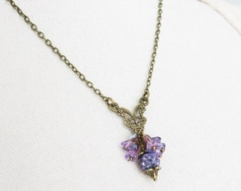 Purple necklace, cluster pendants, purple jewelry, gift for her, bronze jewelry, short necklaces, women