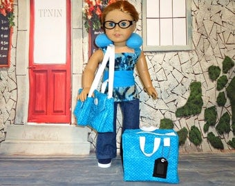Turquoise blue Luggage set 18 inch doll clothes American made girl suitcase overnight bag carry on purse neck pillow