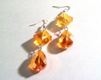 Dangle Earrings, Orange Swarovski Faceted Crystal, Large Tear Drop, Select Metal & Ear Wire Type
