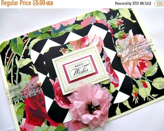 Best Wishes Card Floral Blank Greeting Gift Giving All Occasion
