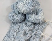 "Hand dyed yarn, Wool Alpaca Chunky ""Skyscape"", pale blue, cream, 92 yards 100 grams"