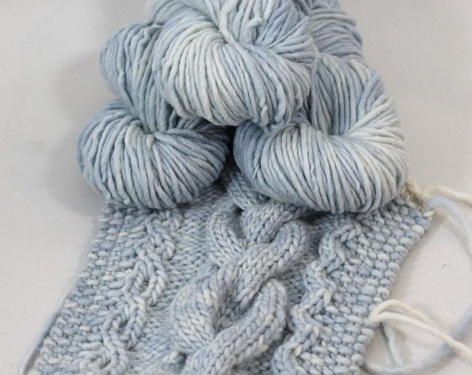 "Hand dyed yarn, Wool Alpaca Chunky ""Skyscape"", pale blue, cream, 92 yards 100 grams"