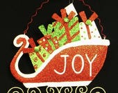 15% OFF Christmas Sleigh (JOY) CM5015, Metal Decor, Wreath Decor, Poly Mesh Wreath Supplies, Poly Mesh Supplies