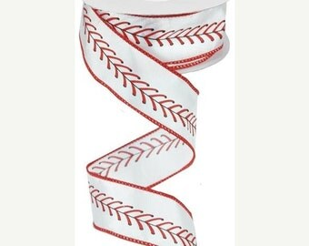 15OFFSALE 1.5 Inch Light Cream Red Black Baseball Stitching Ribbon RG1798, Deco Mesh Supplies, Poly Mesh Supplies
