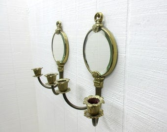 Vintage Brass Wall Sconce With Mirror Candle Sconce