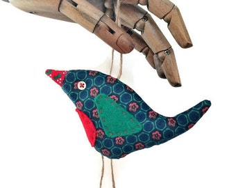 Christmas Robin in Blue, Green and  Red DAISY Vintage fabric , a great Xmas Stocking filler