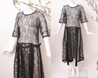 1920s Black Rose Dress / 20s Lace Dress / 20s