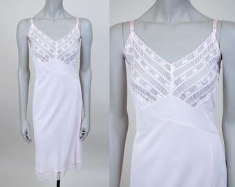 Vintage 60s Slip / 1960s Light Pink Nylon and Lace Dress Slip M