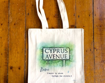 LIMITED EDITION Luxury Tote Bag Cyprus Avenue Tote Bag Music Belfast Van Morrison Irish music Canvas Bag Reusable Bag Eco-friendly Cotton