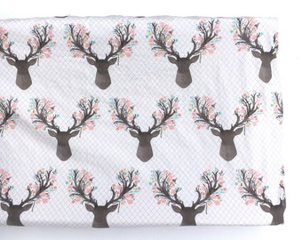 Crib Sheet or Changing Pad Cover- FLORAL FAWN- Girl Crib Sheet- Girl Changing Pad Cover- Deer Crib Sheet- Deer Changing Pad Cover