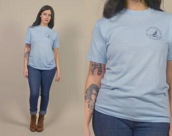 Wolf Tshirt 80s Defenders of Wildlife 1980s Political Tee Animal Rights Thin Soft Blue HOWLING Vegan Shirt Unisex / Size M Medium