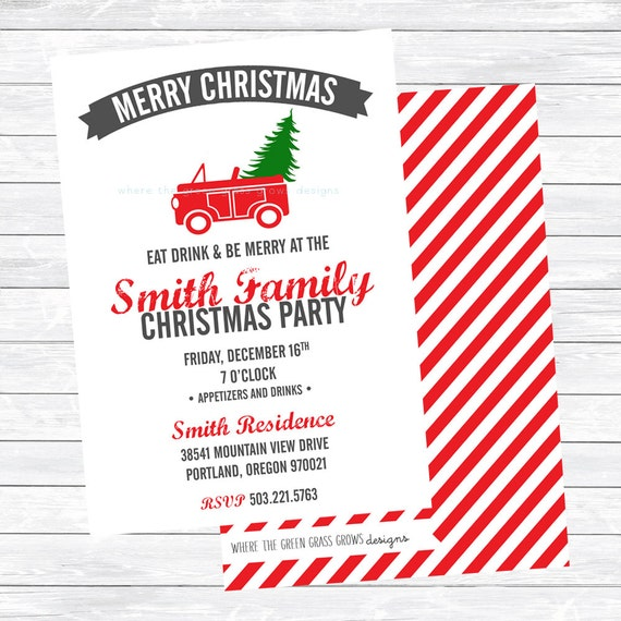 Red Car with Tree Christmas Party Invitations PRINTABLE