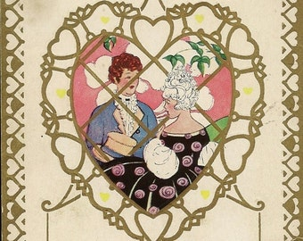 Vintage Art Deco Valentine's Day Postcard – Two Sweethearts Elegantly Dressed Inside Filigree Heart Whitney Publishing Circa 1920