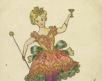 1907 Antique Easter Postcard The Rose Company – Fancy Lady with Champagne Glass and Wand Broken Egg Shells – An Easter Fairy Perhaps
