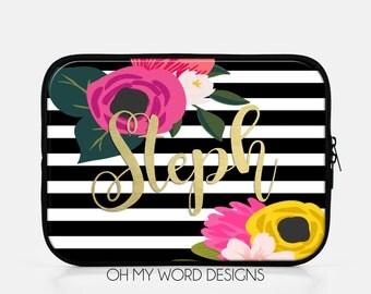 Personalized IPad Sleeve-Water Color Flowers-Neoprene IPad Sleeve-IPad Accessories-Monograms-Gifts