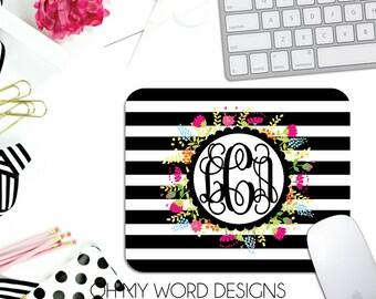 Monogram Mouse Pad-Monogram Mouse Pad-Personalized Mouse Pad-Desk Accessories-Flowers-Stripes-Desk-Monograms