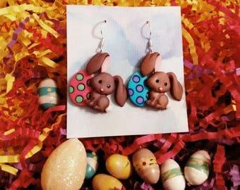 Easter rabbit earrings Easter egg earrings Easter Bunny earrings brockus creations holiday earrings novelty earrings