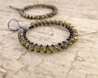Wire Wrapped Earrings, Hoop Earrings, Green Earrings, Wire Wrap Hoops, Bohemian Earrings, Bohemian Jewelry