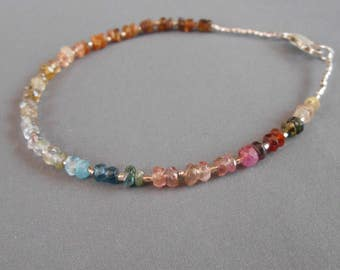 Genuine Tourmaline gemstone silver sterling tiny beads / silver 925 clasp
