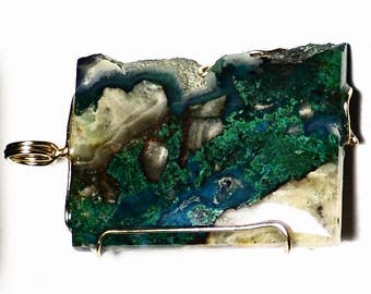Gem Silica Pendant in 14k Gold (17.86 ct) Chatoyant Malachite in Arizona Chrysocolla Chalcedony Inspiration Mine USA, Gemstone Gift For Her
