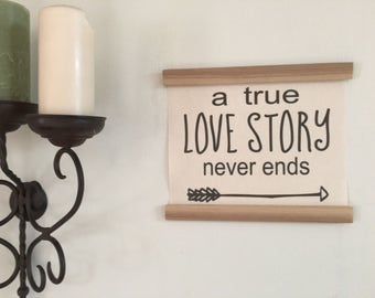 A true love story never ends, Banner sign