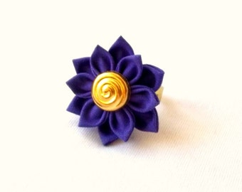 Royal Purple and Gold Flower Chunky Ring Tsumami Kanzashi Flower