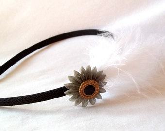 Black Headband with White Feathers and Gray Kanzashi Flower