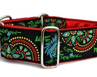 Martingale Collar or Buckle Dog Collar - Flower Burst in Black, Blue, & Red - 2 Inch, Greyhound Collar, Great Dane Collar, Custom Dog Collar