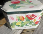 English Candy Tin Tulips Hexagon Shaped Lidded Tin Box Candy Tin From England Flowers and Tulips