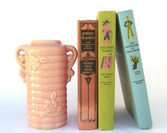 Vintage Shawnee Vase, Pink Ribbed Handled Flowers, USA Pottery, 1950s Mid Century Retro
